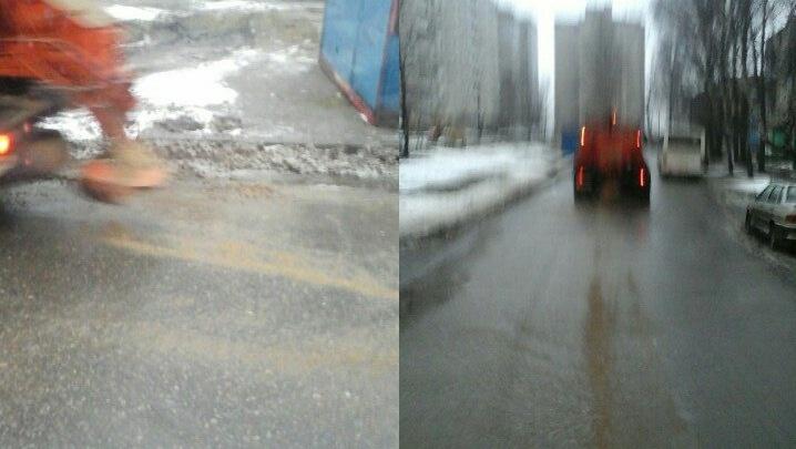 В Ярославле застукали коммунальщиков, посыпающих дорогу песком
