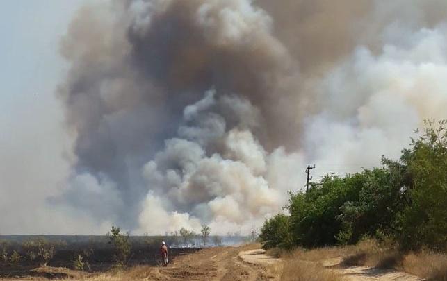 Степной пожар отступил от трассы Волгоград–Самара