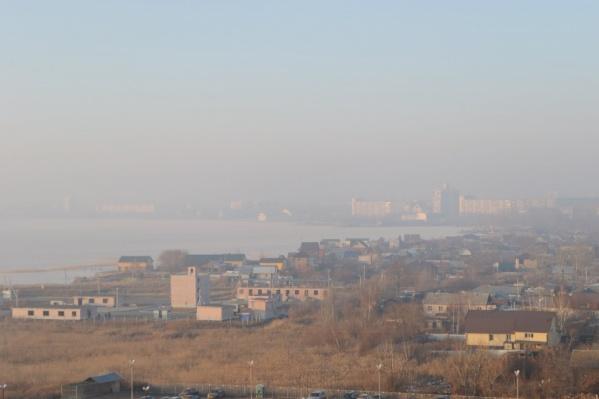 Города почти не видно