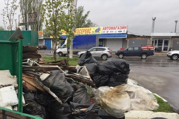 Ростовчане бросали мусор рядом с контейнером