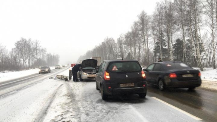 На дороге, как на катке: за несколько минут на трассе М-8 произошло несколько серьёзных ДТП