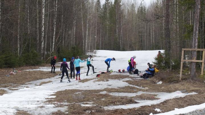 Жители Поморья продолжают кататься на лыжах даже в мае