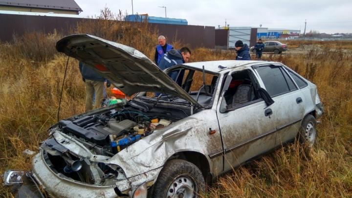 На Старотобольском тракте в кювет улетел начинающий водитель на Daewoo Nexia