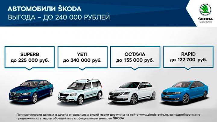 Привлекательные предложения действуют для клиентов ŠKODA в марте