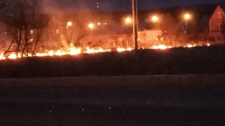 В пермском микрорайоне Запруд пожарные тушили горящую траву