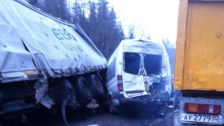 На трассе в Челябинской области автобус столкнулся с четырьмя грузовиками
