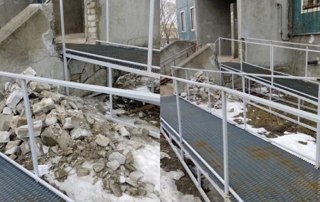 В Рыбинске сделали пандус для инвалидов, разрушив подъезд