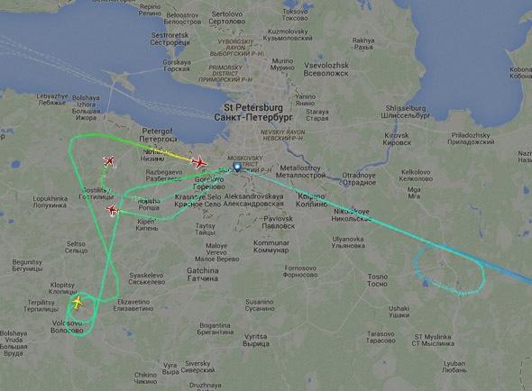 """Коллаж """"Фонтанка.ру"""" на основании данных flightradar24.com"""