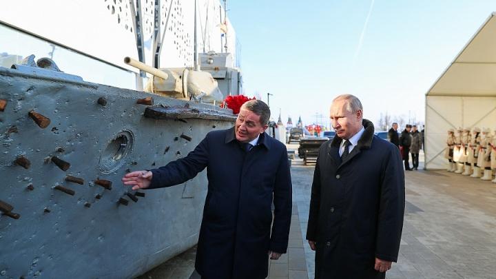 Владимиру Путину в Волгограде показали поднятый со дна Волги БК-31