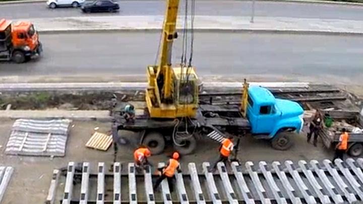 В Самаре начали сборку рельсов для новой трамвайной ветки