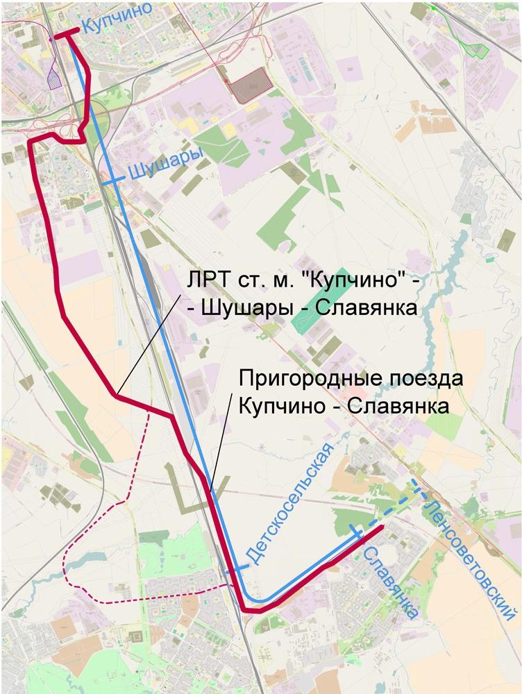 Красная сплошная - существующая трассировка, красная пунктирная - вариант трассировки с захватом Пушкина, синяя - вариант с восстановлением Колпинской ветки