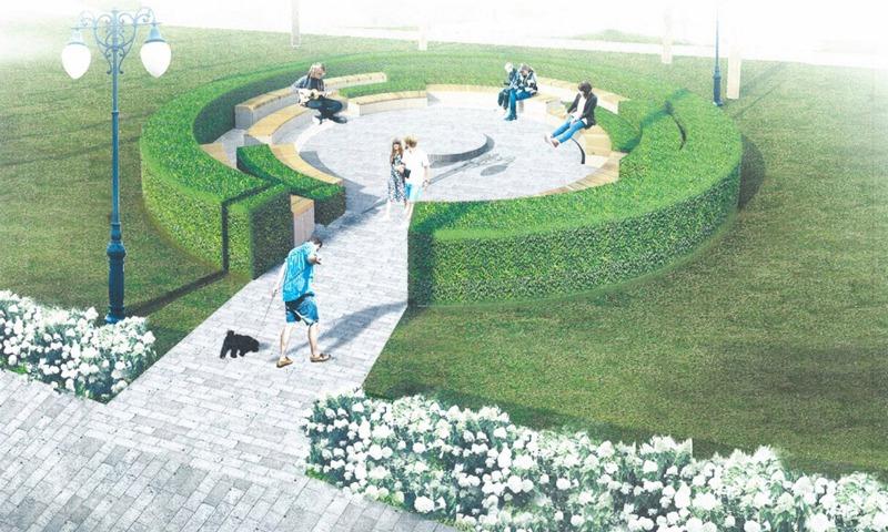 В сквере появятся круговые лавочки и красивые зеленые изгороди