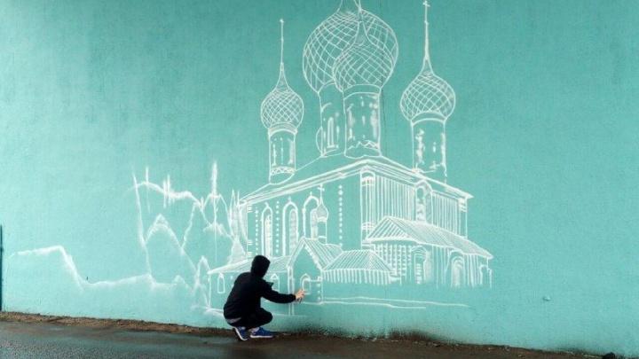 Октябрьский мост, стоящий на месте храма, украсят граффити с куполами