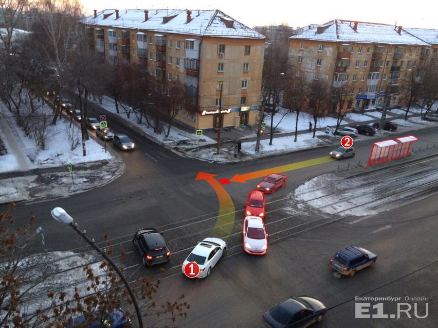 Первый автомобиль хочет повернуть налево, второй –проскочить прямо. Из-за встречки и трамвайной остановки они не видят друг друга
