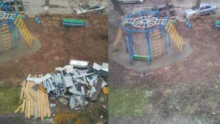 После вмешательства СМИ подрядчик ликвидировал свалку на детской площадке в центре Ростова