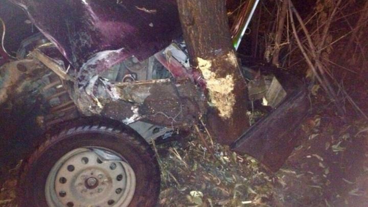 Раскурочило весь капот: ВАЗ в Челябинске сшиб знак и влетел в дерево