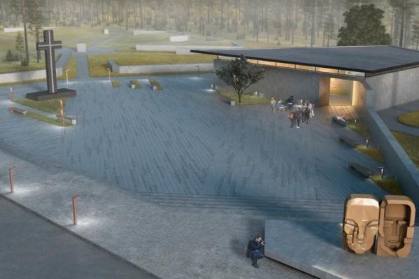 """Эскиз, как должен выглядеть мемориальный комплекс с музеем и """"Масками скорби""""."""