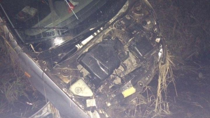 Под Котласом водитель съехал в кювет, спасаясь от животного