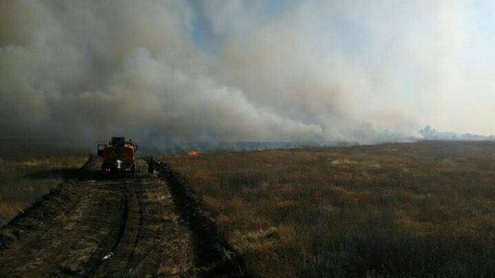 Под Волгоградом к селу Оленье подходит километровая стена огня