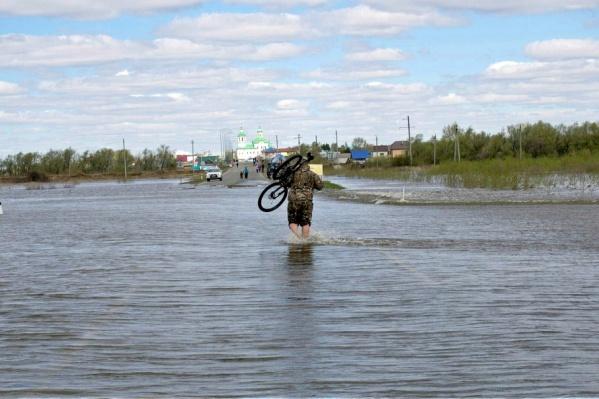 Ишимец переходит лужу вброд, неся велосипед на плечах: проехать тут на двухколёсном транспорте попросту невозможно