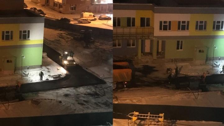 Снег выпал — пора на работу: ярославские дорожники вышли асфальтировать дороги ночью