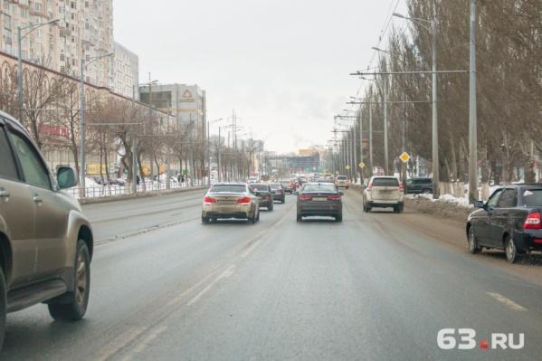 Колеи образовались на участке шоссе от Мичурина до Кирова
