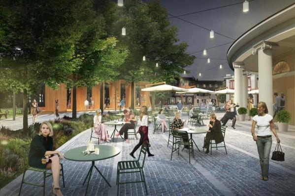 Мощеная улица и уличные кафе - таким представляют архитекторы участок в центре города