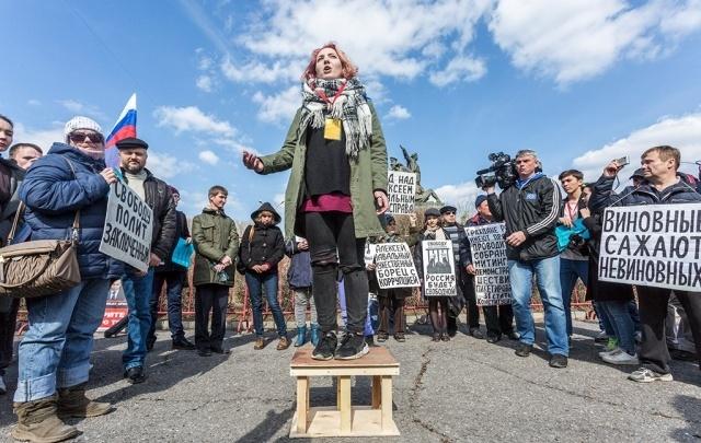 В Волгограде на митинг сторонников Навального горожан пришло втрое меньше, чем полиции