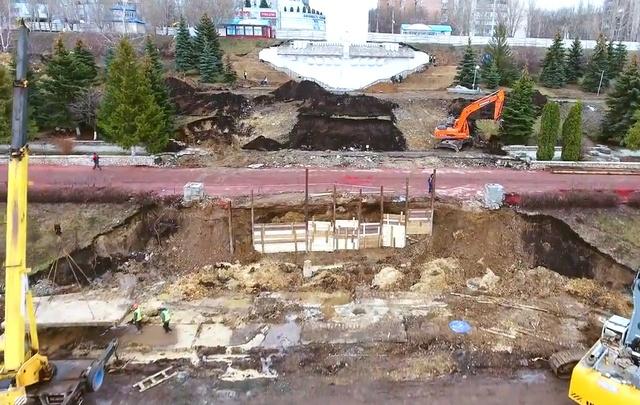 В Самаре на набережной у Ладьи разрыли площадку для самого большого фонтана в России