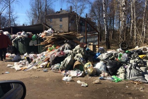 Горы мусора лежат далеко за пределами контейнерной площадки