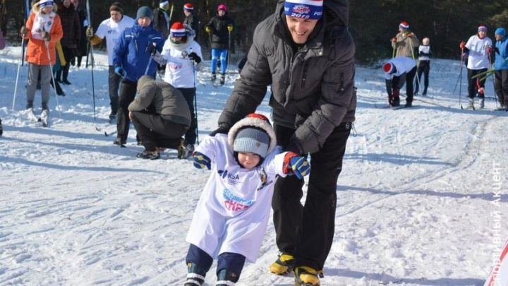 На волгоградскую «Лыжню России» приехал двухлетний спортсмен