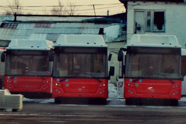 Красные автобусы, работающие на природном газе. Фото сделано на улице Дамбовской