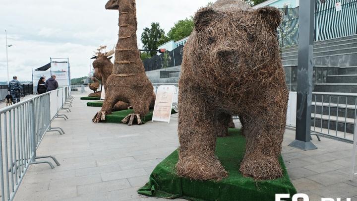 Аисты из сена и песочные богатыри: на пермской набережной открыли «Сезон искусства»