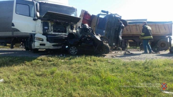 Полицейские сообщили подробности жуткого ДТП под Волгоградом с раздавленным Hyundai
