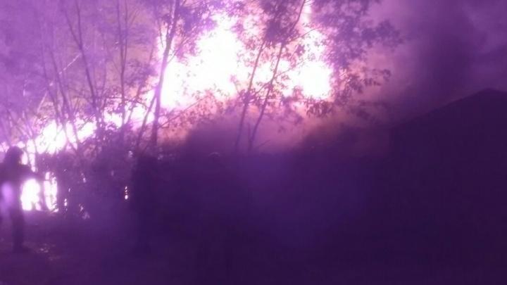 В Тюмени ночью пожарные эвакуировали из горящего здания два газовых баллона