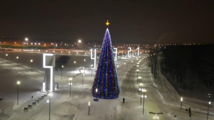 Около «Самара Арены» установили новогоднюю елку: видео