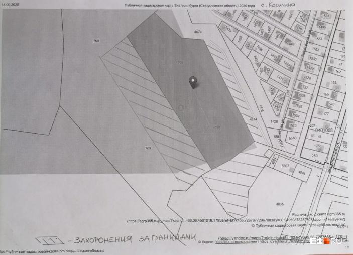На распечатке кадастровой карты заштрихованный участок — территория с могилами, размещенными за пределами кладбища в Косулино