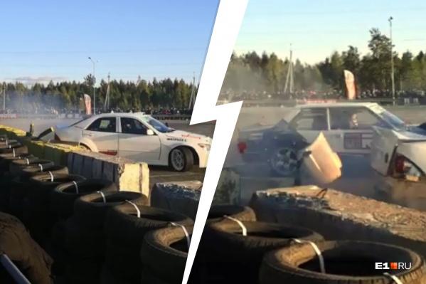 На соревнованиях в Верхней Пышме Toyota врезалась в ограждение, а бампер отлетел