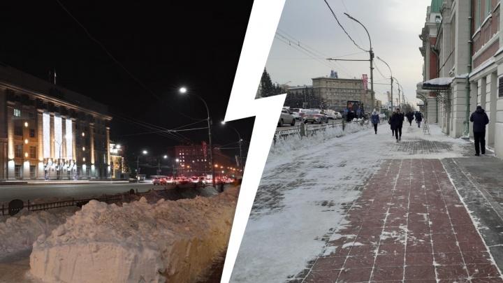 В центре Новосибирска возле Краеведческого вычистили неудобный сугроб — прохожие обходили его несколько дней