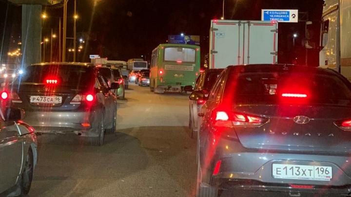 «Машин восемь, живого места на них нет»: Базовый встал в огромную пробку из-за массового ДТП