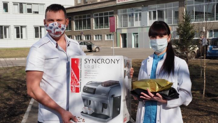 Неравнодушные красноярцы подарили врачам краевой больницы кофемашину