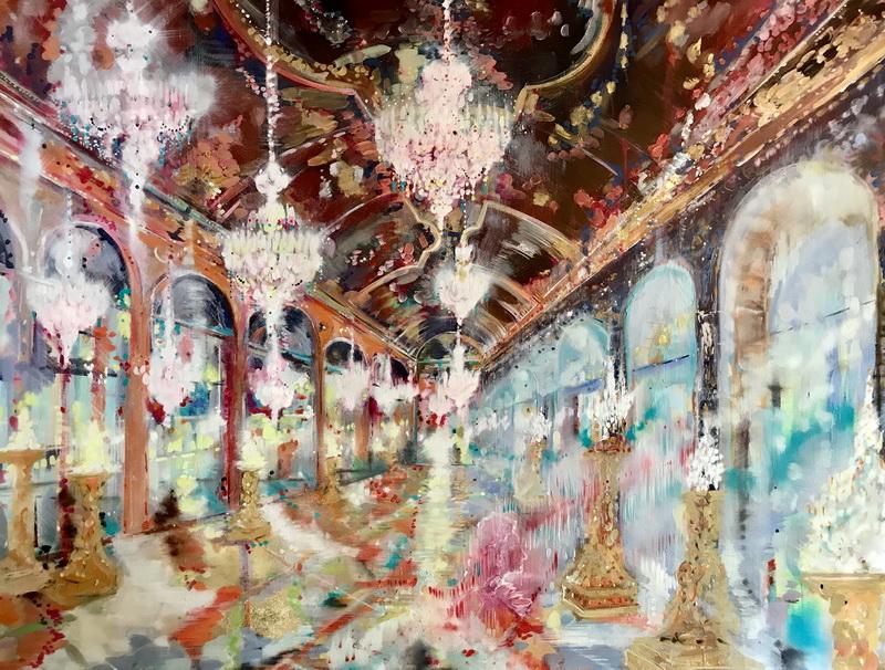 Бьянко Фабио. Версаль, Галерея зеркал и Король Солнце. 2019. Холст, масло, сусальное золото