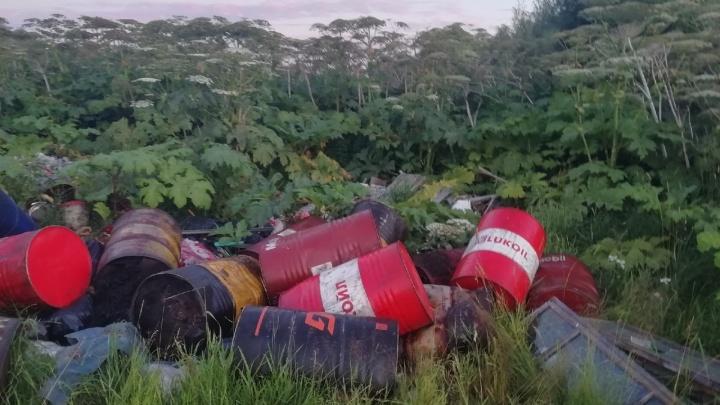 В Приморском районе кто-то выбросил десятки бочек с нефтепродуктами. Прокуратура начала проверку