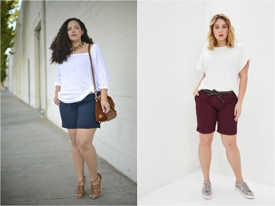 Длина шорт для девушек plus size должна быть около колена