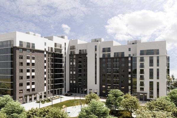 Дом будет выделяться фасадом: окружающие его жилые комплексы построены из красного кирпича