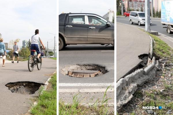 Прогулявшись вдоль развязки от Копылова до моста, можно заметить вот такие дефекты