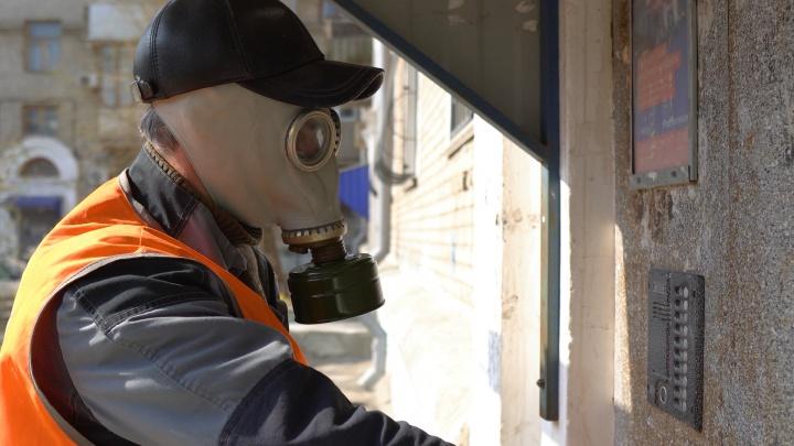 «Работать в противогазе»: коронавирус заставил коммунальщиков мыть с хлоркой подъезды Волгограда