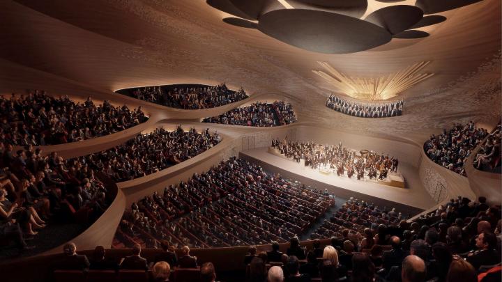 Зал-«виноградник» и искусственный интеллект: смотрим финальную концепцию нового здания филармонии