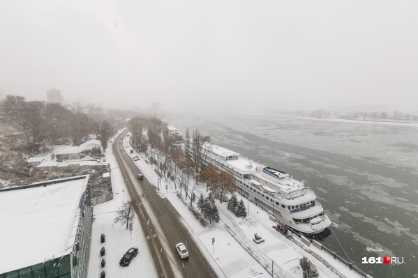 Снег еще не успел растаять в Ростове