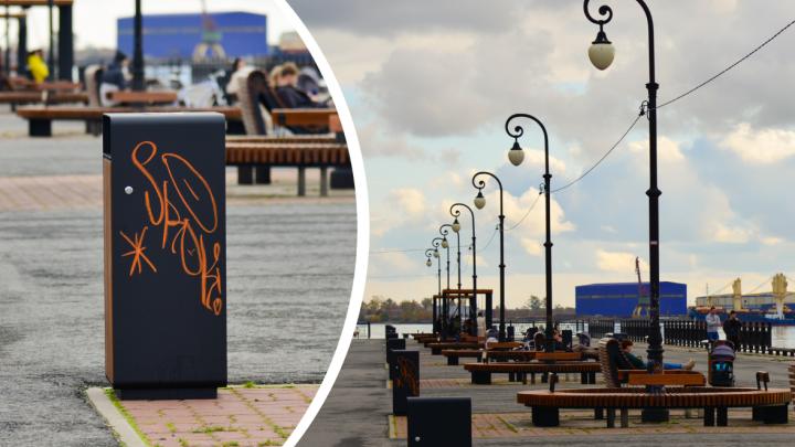 Новые скамейки и урны уже испорчены: как выглядит Красная пристань, обновленная в сентябре